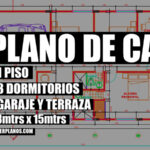 Plano de casa de 3 dormitorios y 1 piso / Archivo DWG