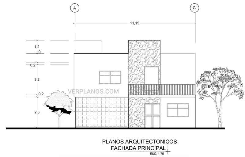 Fachada principal del plano de casa