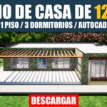 Plano de casa de 1 piso con tres dormitorios en autocad con medidas para descargar