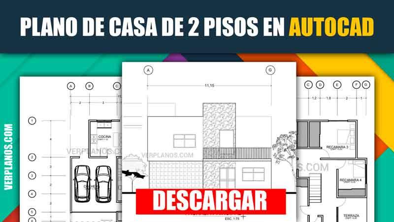 Plano de casa de 2 pisos y 4 dormitorios para descargar