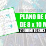 Plano de casa de 2 dormitorios 1 piso de 8 x 10 metros