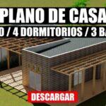 Plano de casa de campo 1 piso, 4 dormitorios y 3 baños