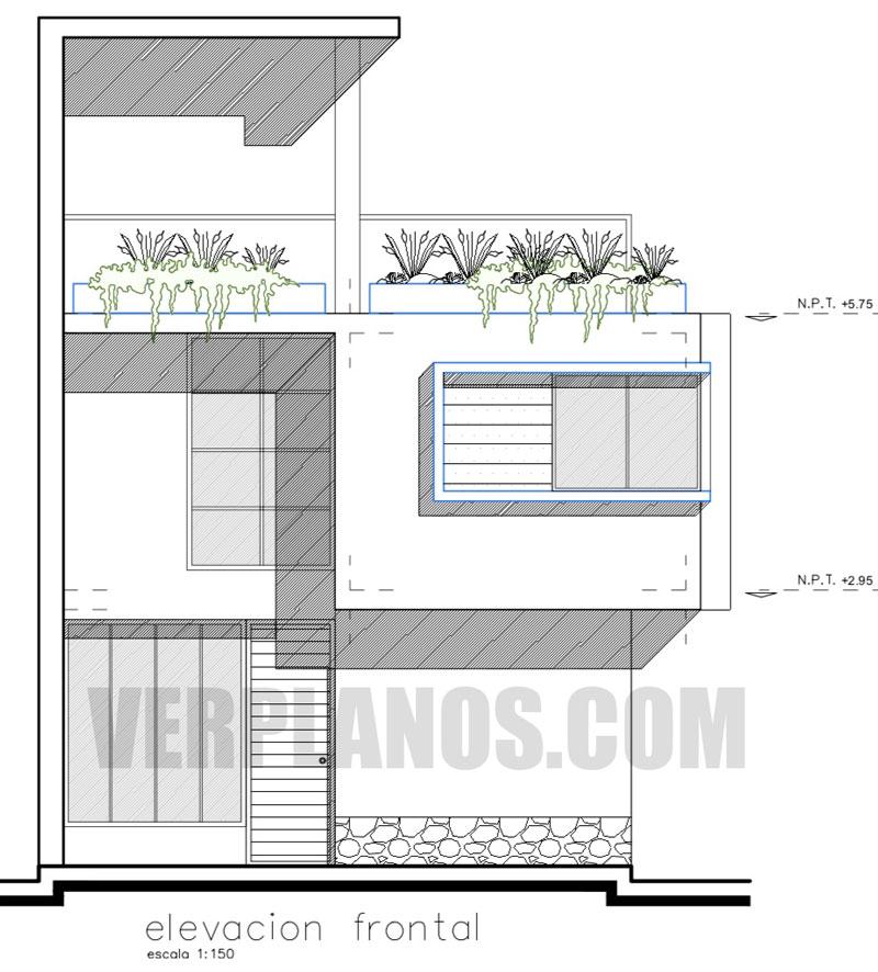 Descargar plano de casa de 7x7 metros con medidas en autocad for Casa moderna 7x7