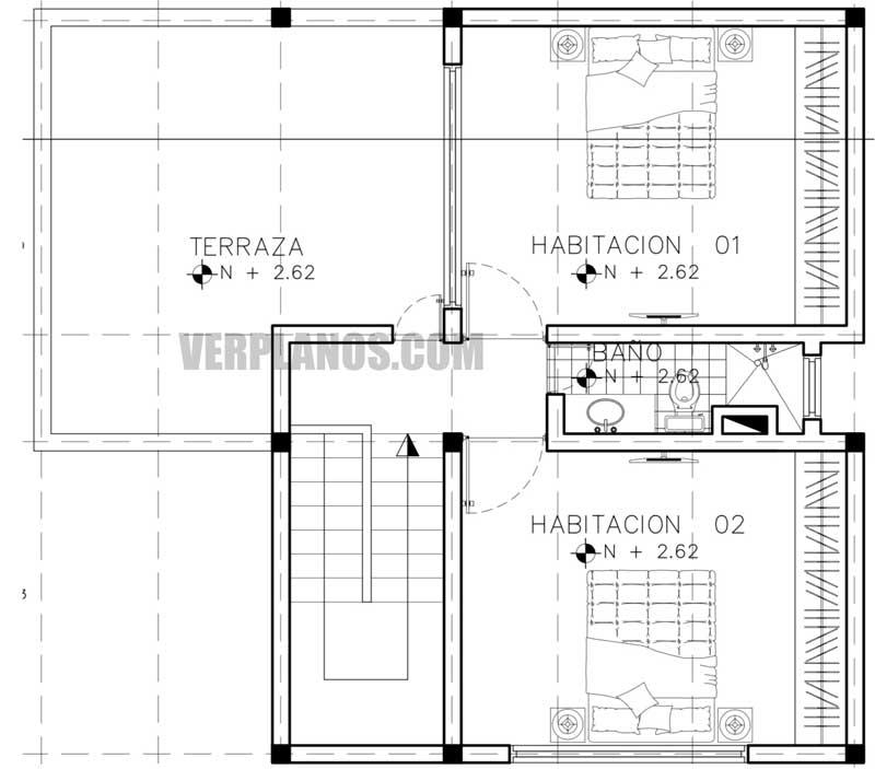 Vista previa segundo piso plano de casa