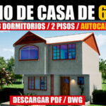 Plano de casa de 2 pisos con 3 dormitorios con medidas en AutoCAD gratis descargar