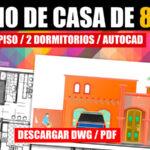 Plano de casa con medidas 1 piso y 2 dormitorios dwg y pdf descargar gratis