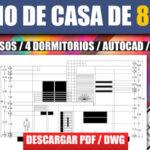 plano de casa con medidas en dwg y pdf para descargar gratis