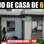 Plano de casa de 1 piso y 2 dormitorios en dwg y pdf con medidas