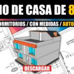Plano de casa de 2 pisos con 4 dormitorios en AutoCAD (.DWG)