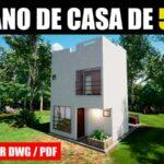 Plano de casa de 2 pisos con 2 dormitorios con medidas bajar gratis dwg pdf descargar