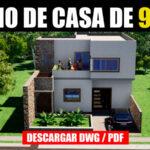 plano de casa de 2 pisos con medidas dwg autocad y pdf con medidas gratis descargar