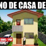 plano de casa de 2 pisos y 2 dormitorios con medidas gratis en autocad dwg pdf descargar bajar gratis