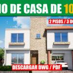 Plano de casa de 3 habitaciones 2 pisos con medidas en autocad y pdf para descargar gratis