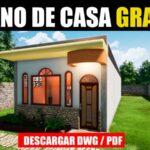 plano de casa para sitio angosto con medidas dwg y pdf gratis descargar