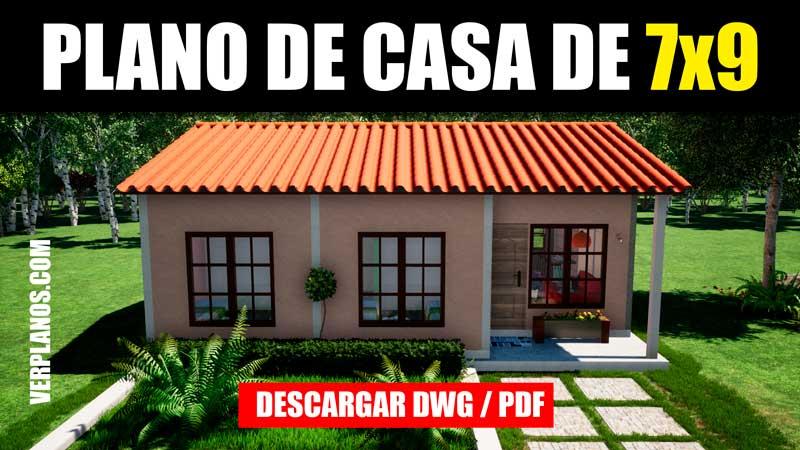 plano de casa social economica prefabricada con medidas en autocad