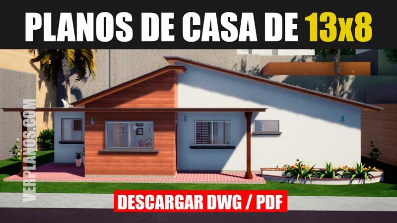 Plano de casa de 3 dormitorios y 1 piso para descargar en dwg para autocad pdf