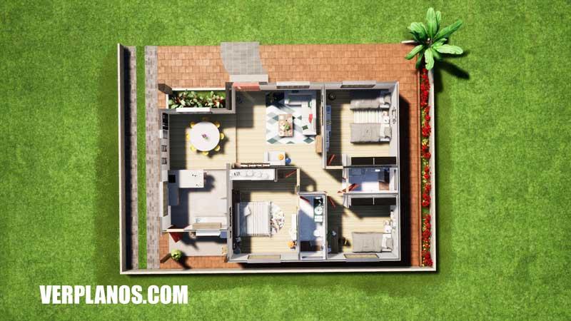 Vista en planta plano de casa grande