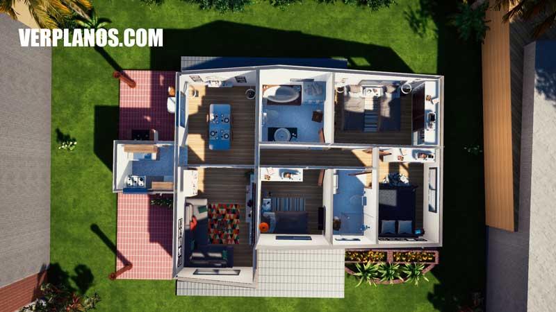 vista previa plano de casa planta distribución arquitectura