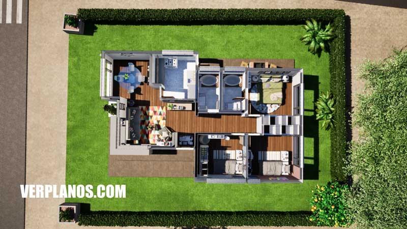 Vista en planta plano de casa