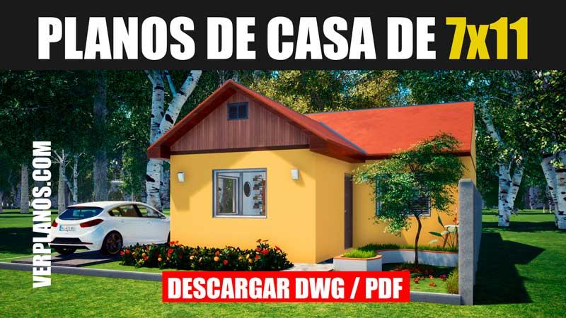 bajar plano de casa de 1 piso con 2 habitaciones 1 baño casa planos descargar dwg para autocad