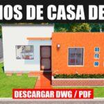 plano d ecasa de 1 piso con 2 dormitorios para descargar en dwg y pdf gratis