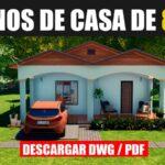 plano de casa de 1 piso con 3 dormitorios con medidas descargar gratis dwg para autocad