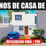 plano de casa de 2 pisos con 3 dormitorios y 2 banos con medidas dwg y pdf descargar gratis