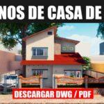plano de casa de 2 pisos con 4 dormitorios y 2 años gratis con medidas en dwg para autocad y pdf