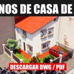 plano de casa de 2 pisos con medidas y 2 dormitorios bajar gratis para autocad dwg