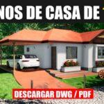 plano de casa de campo con medidas de 1 piso y 2 dormitorios estacionamiento dwg pdf gratis bajar para autocad