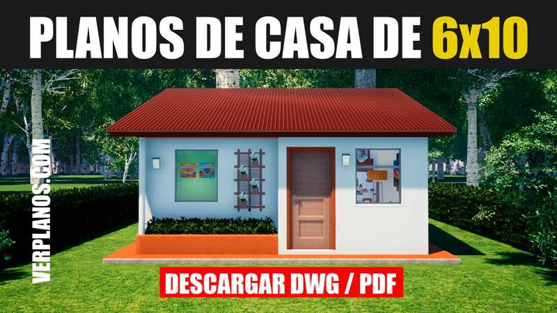 plano de casa economica de 1 piso con 3 dormitorios en dwg para autocad gratis bajar