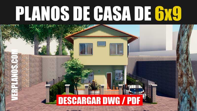 planos de casa gratis con medidas de 2 pisos y 4 dormitorios dwg para autocad y pdf