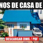 planos de casa de 1 piso con tres dormitorios con medidas dwg pdf gratis descargar