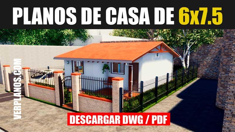 planos de casa de 1 piso economica con 2 habitaciones gratis dwg para autocad pdf