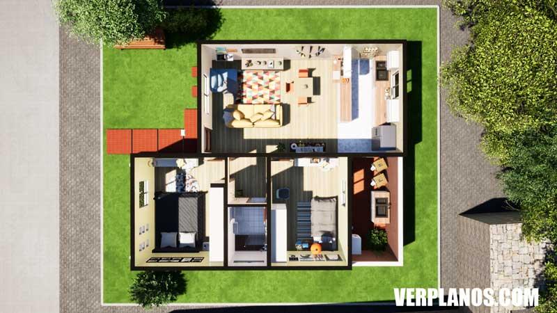 vista pervia plano de casa de 1 piso en planta