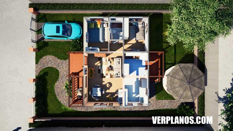Vista previa plano de casa distribución plano de casa economica