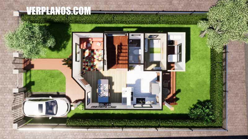 vista previa primer piso plano de casa