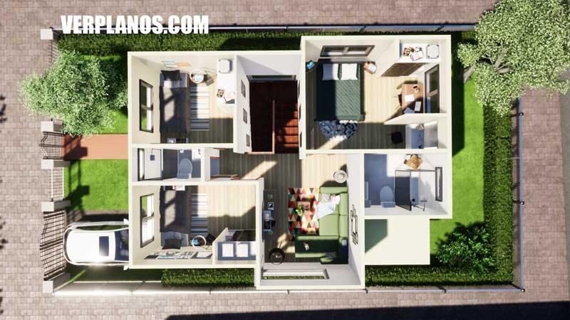 vista previa segundo nivel plano de casa