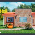 plano de casa de 1 piso con 2 habitaciones y 2 baños gratis para descargar en DWG