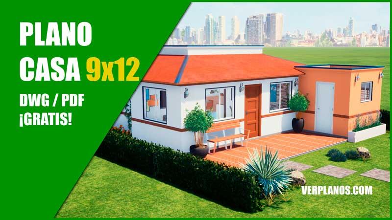 plano de casa de 1 piso con 2 habitaciones para descargar gratis para autocad