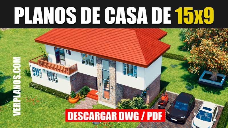 plano de casa arquitectura dos niveles con 4 dormitorios piscina en pdf y dwg para autocad