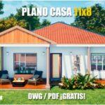 plano de casa de 1 piso con 2 dormitorios descargar gratis dwg para autocad