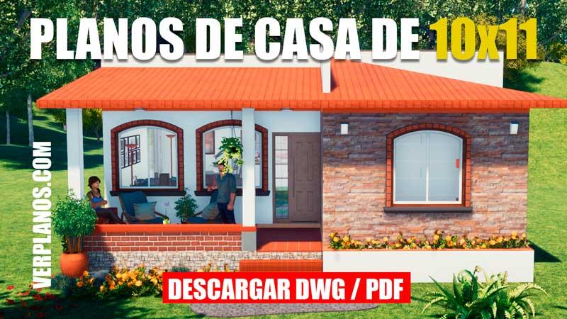 plano de casa de 1 piso con 2 dormitorios dwg para autocad