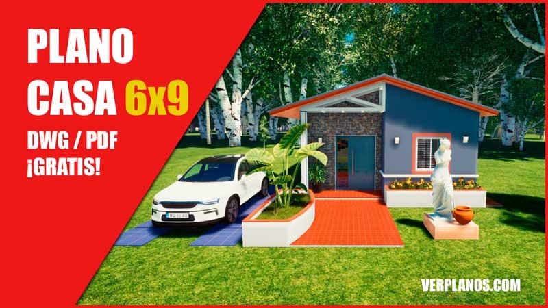 plano de casa de 1 piso con 3 habitaciones con medidas en dwg para autocad gratis
