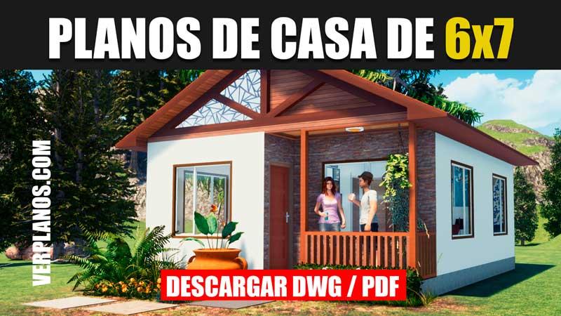 plano de casa de 1 piso con con medidas formato dwg para autocad