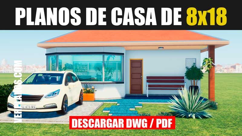 plano de casa de 1 piso con medidas para descargar para autocad formato dwg y pdf
