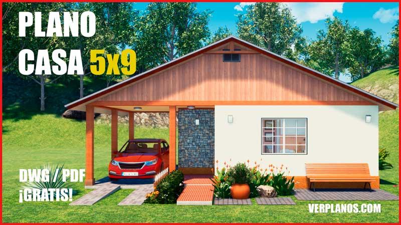 plano de casa economica con medidas gratis para autocad dwg pdf