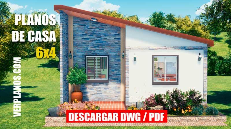 Plano de casa economica dwg para autocad y pdf