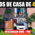 plano de casa para sitio angosto de 2 pisos con 3 habitaciones