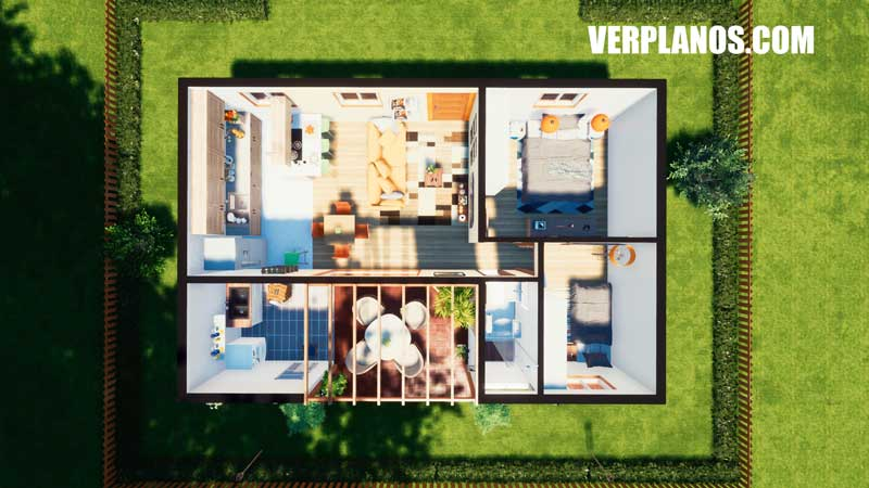 vista previa plano de casa vista en planta